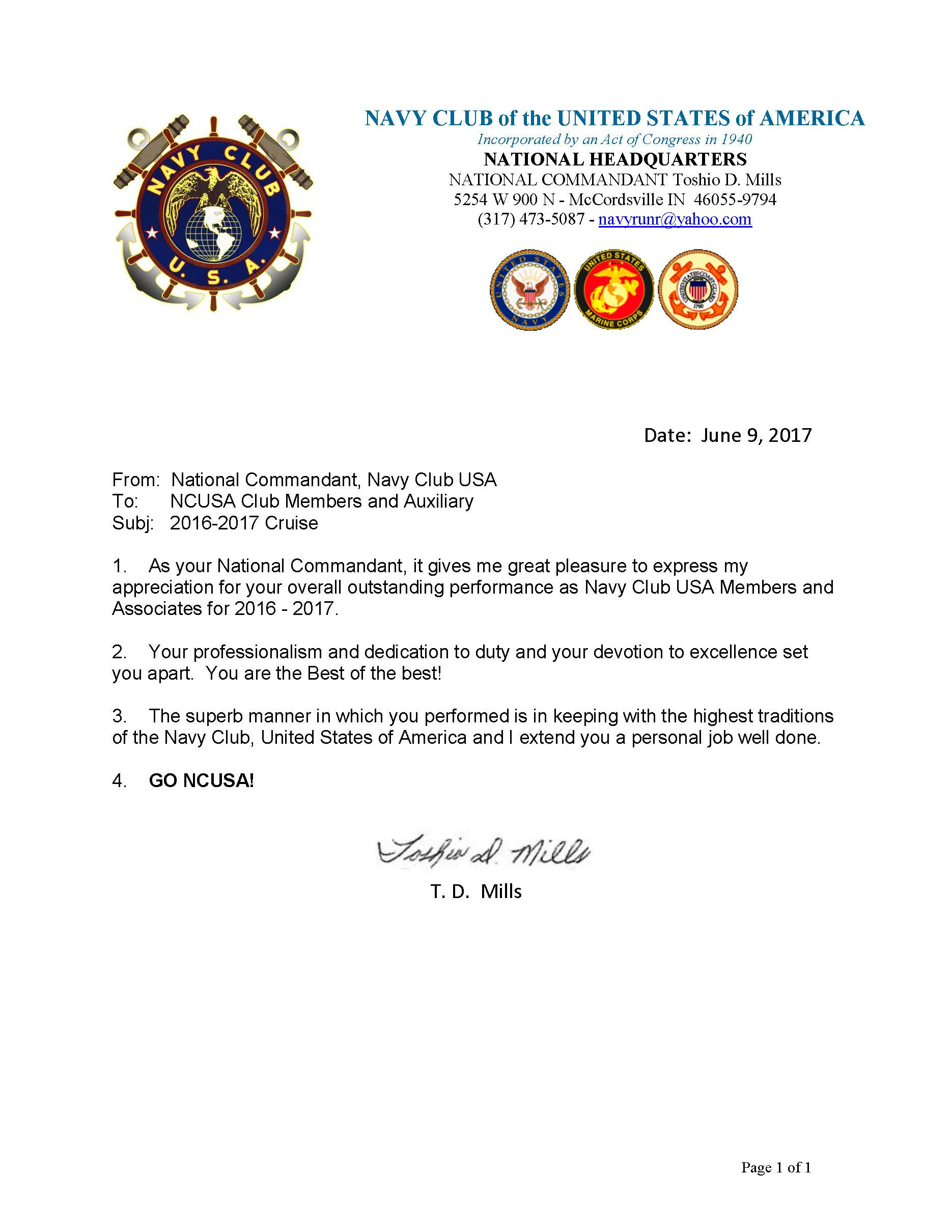 NCUSA NATIONAL COMMANDANTS LETTER OF APPRECIATION